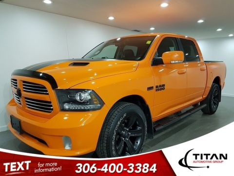 Pre-Owned 2017 Ram 1500 Sport Ignition Orange V8 4x4 R/T Hood NAV 20 Rims
